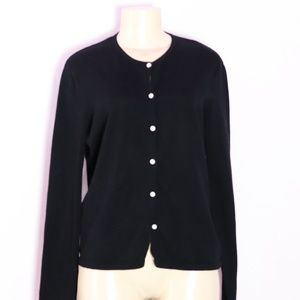LILLY PULITZER BLACK COTTON CARDIGAN SWEATER MD